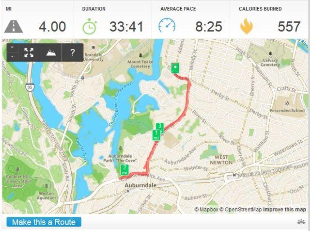 RunKeeper Lyons Park Run