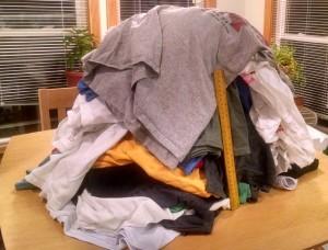Race shirts pile.
