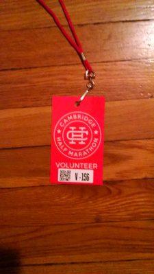 Volunteer Badge for the Cambridge Half Marathon